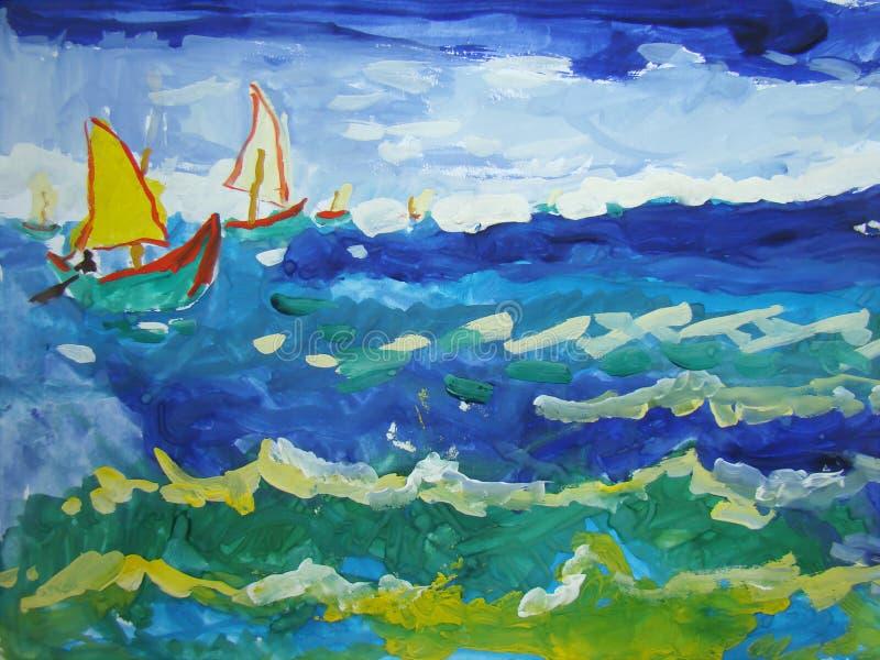 Stormachtige die overzees door kind wordt geschilderd royalty-vrije illustratie