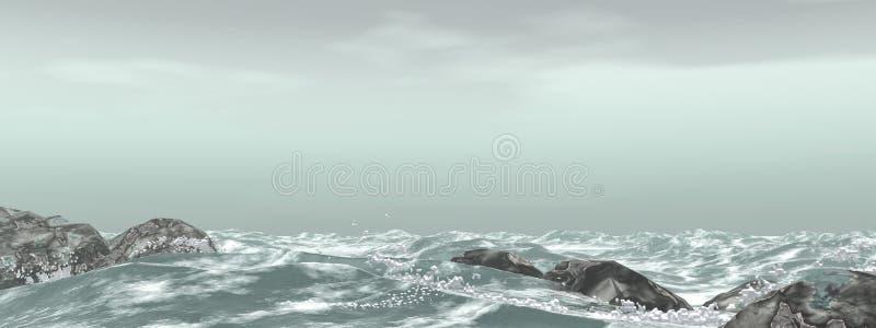 Stormachtige overzees royalty-vrije illustratie