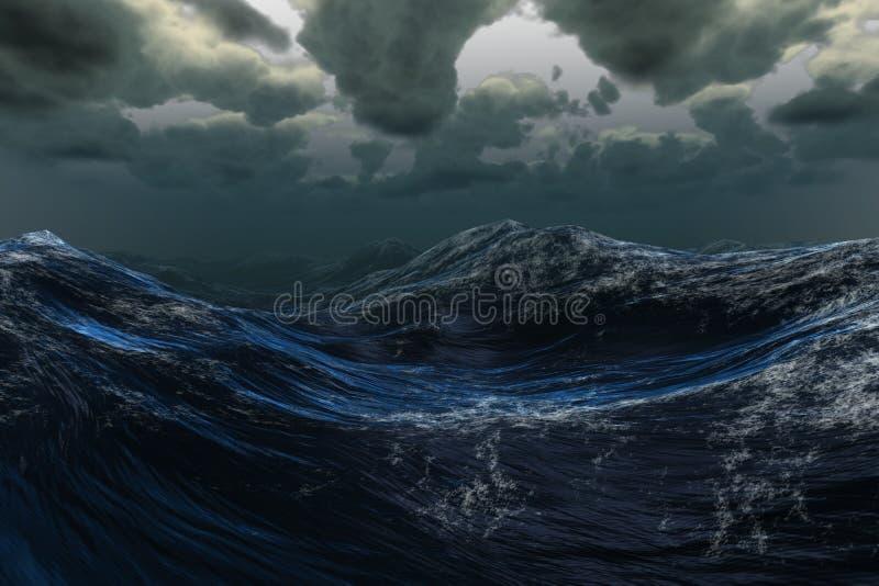Stormachtige overzees onder donkere hemel stock illustratie