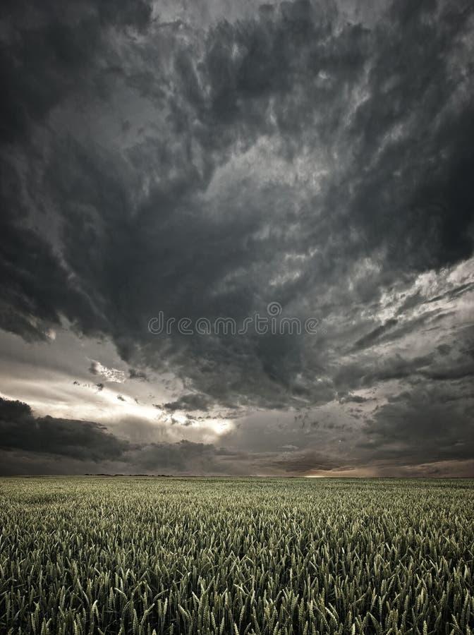 Stormachtige zonsondergang stock foto