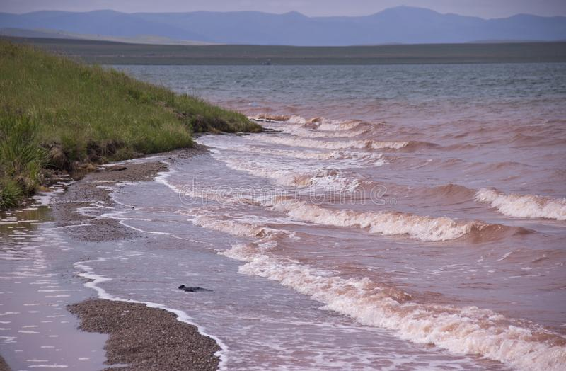 Stormen på sjön, vinden kör vågorna royaltyfri bild