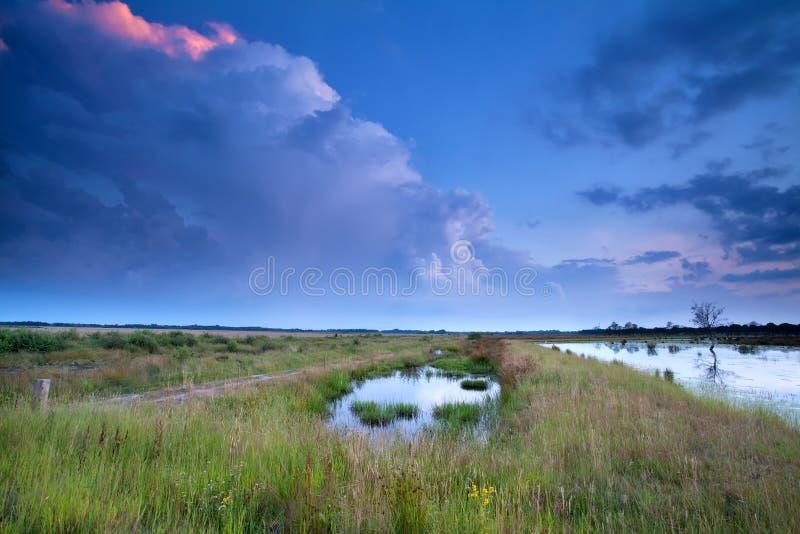 Stormig himmel på solnedgången över träsk royaltyfria bilder