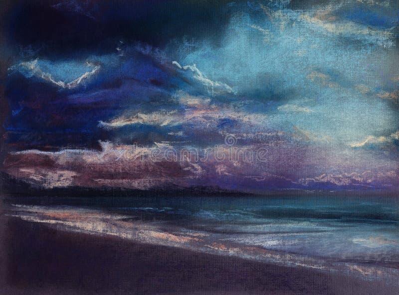 stormig kust stock illustrationer
