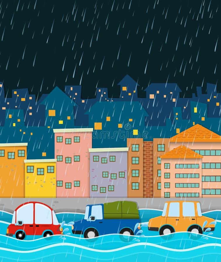 Stormig natt- och flodstad royaltyfri illustrationer