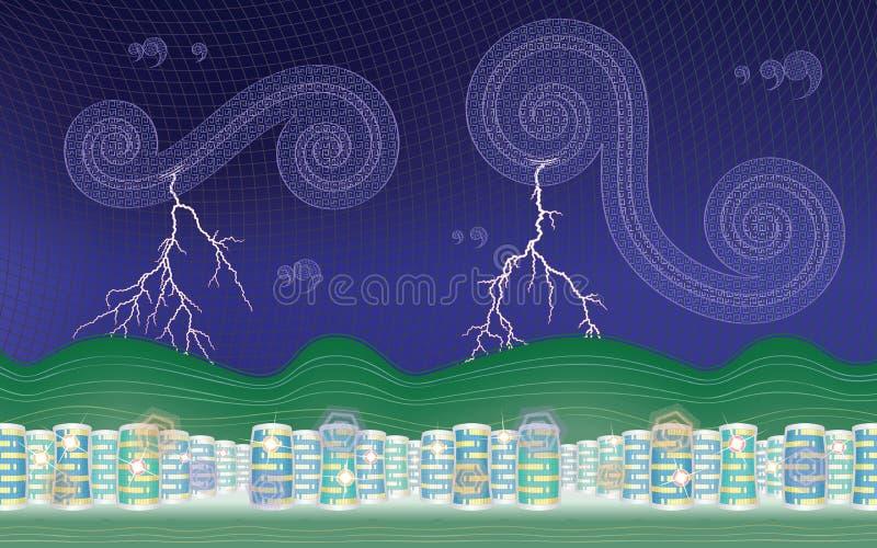 Stormig stad (skrivbordsbakgrund - 16:10) stock illustrationer