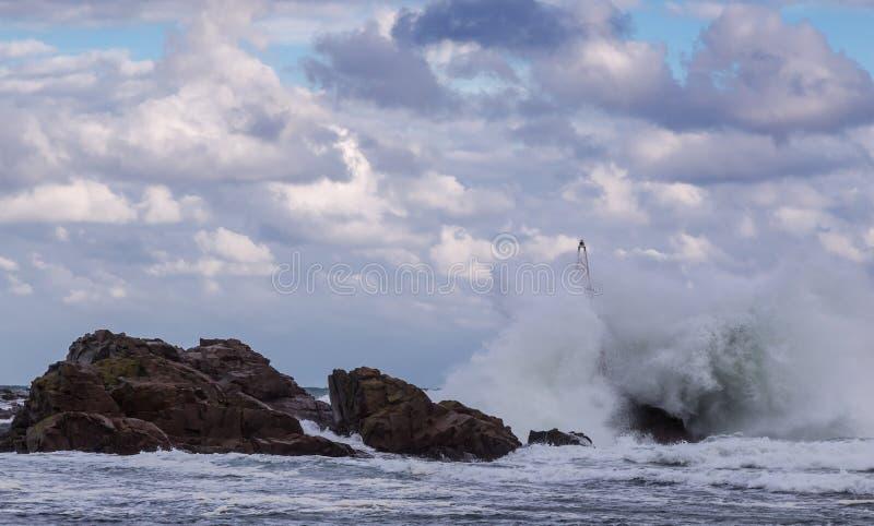 Stormigt hav med stora vågor royaltyfri foto