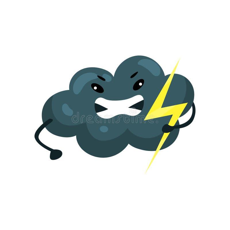 Stormigt mörkt moln med gulingexponeringen i hand Emoji med den ilskna framsidan Väder- och himmelbeståndsdel Plan vektordesign f vektor illustrationer