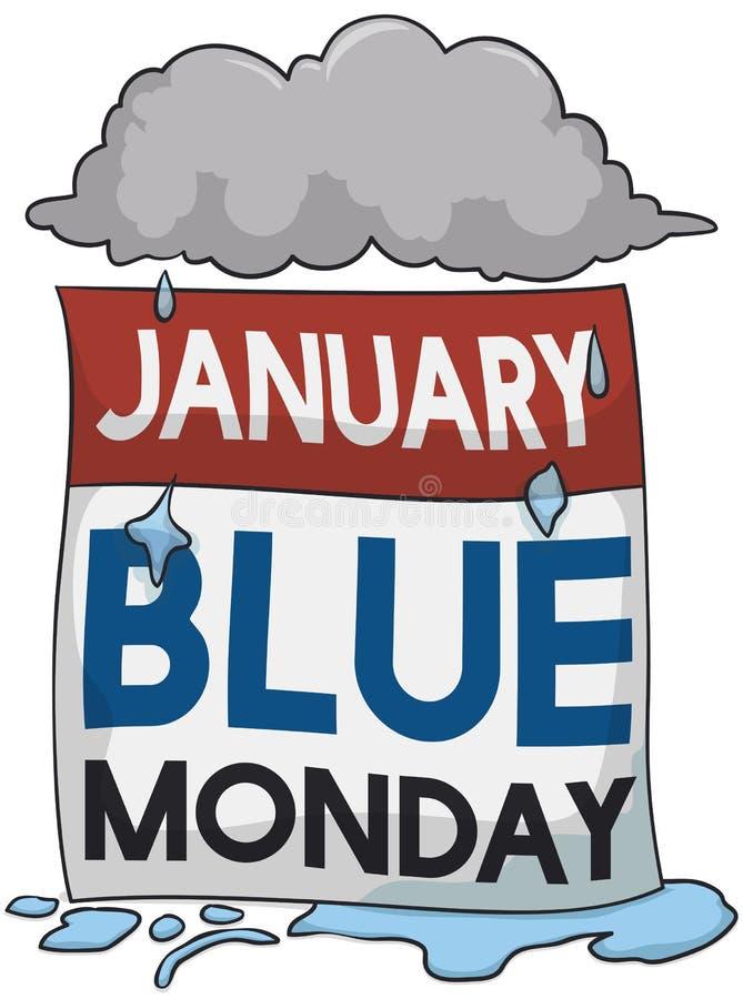 Stormigt och regnigt moln över den lösblads- kalendern för Blue Monday, vektorillustration stock illustrationer
