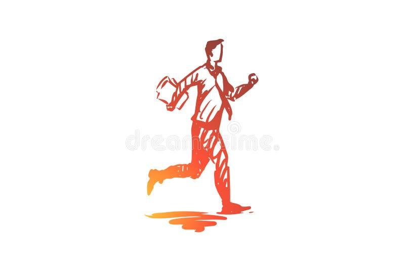Stormloop, zakenman, haast, bezig, uiterste termijnconcept Hand getrokken geïsoleerde vector royalty-vrije illustratie