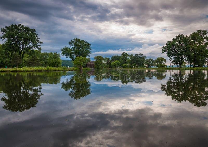 Stormmoln reflekterar i ett damm på Stewart Park i Ithaca, NY royaltyfri foto