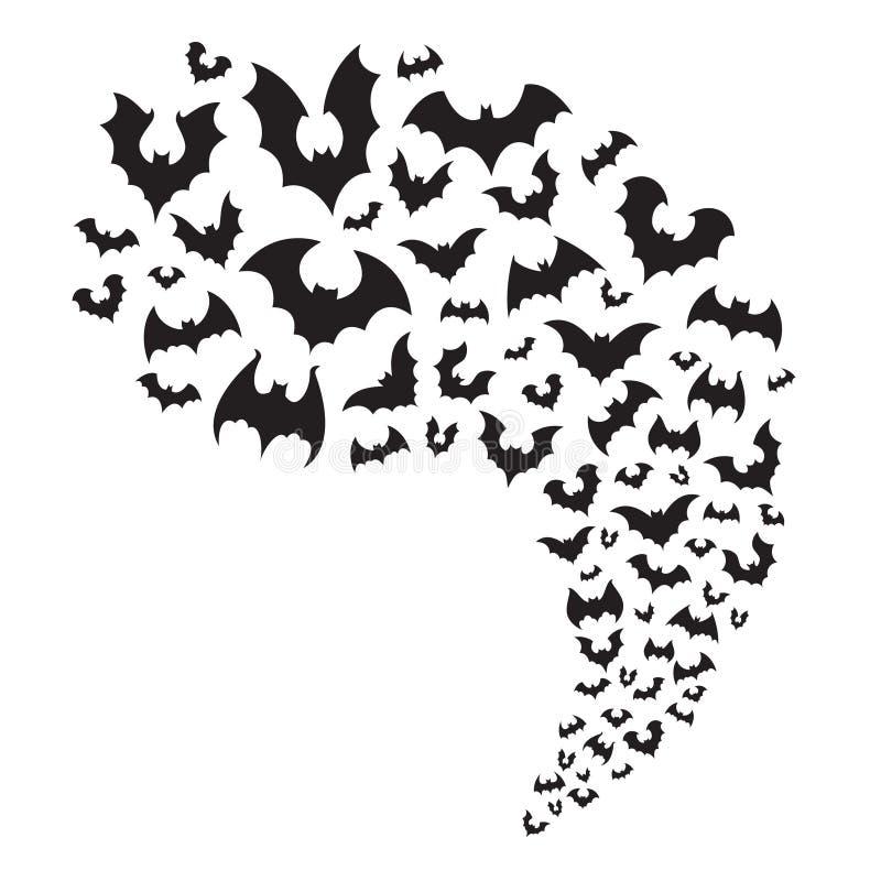 Stormo dei pipistrelli di volo Mosca terrificante del pipistrello di Halloween dalla caverna Animale notturno spaventoso al vetto illustrazione vettoriale