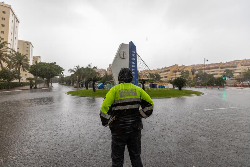 Storms and Flooding in Estepona. Torrential rain and storms on the Costa del Sol in Spain result in massive flooding with damage to property and infrastructure royalty free stock photography
