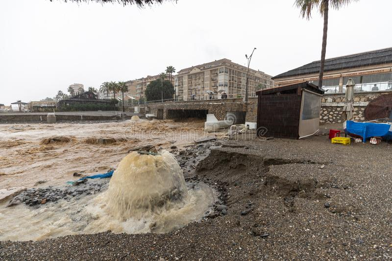 Storms and Flooding in Estepona. Torrential rain and storms on the Costa del Sol in Spain result in massive flooding with damage to property and infrastructure royalty free stock photo
