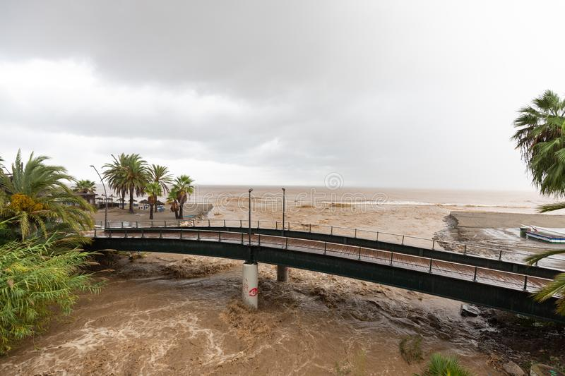 Storms and Flooding in Estepona. Torrential rain and storms on the Costa del Sol in Spain result in massive flooding with damage to property and infrastructure stock photos