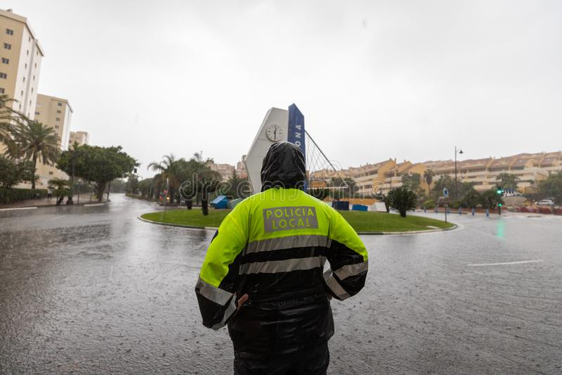 Storms and Flooding in Estepona. Torrential rain and storms on the Costa del Sol in Spain result in massive flooding with damage to property and infrastructure royalty free stock images