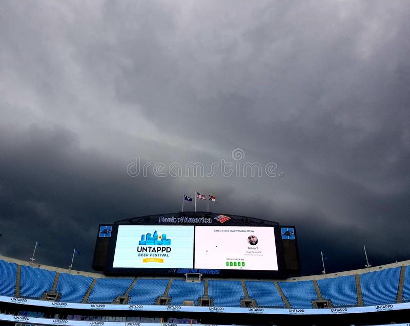 Storms over Bank of America Stadium Carolina Panthers clouds storm at Untapped Beer Festival. Storms over bank america stadium carolina panthers clouds untapped stock photos