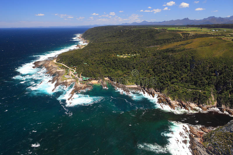 Storms River Mouth. Aerial of Storms River Mouth, Tsitsikamma, South Africa stock image