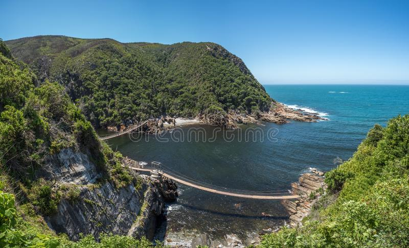 Storms River Suspension Bridge, Eastern Cape, Tsitsikamma National Park, South Africa stock photography