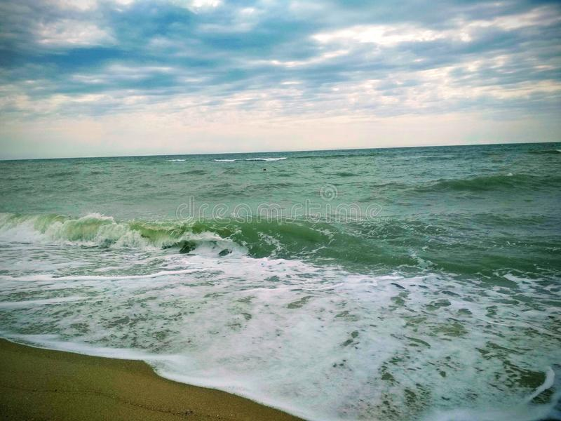 storms on the Sea of Azov in the city of Berdyansk stock photography