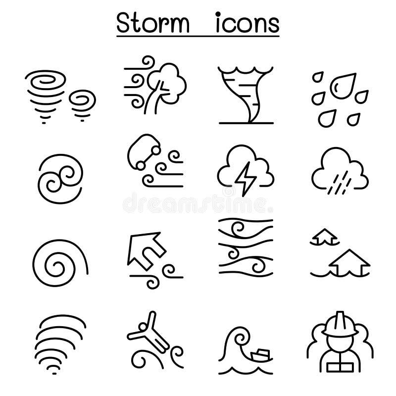 Stormsymbolsuppsättning i den tunna linjen stil royaltyfri illustrationer