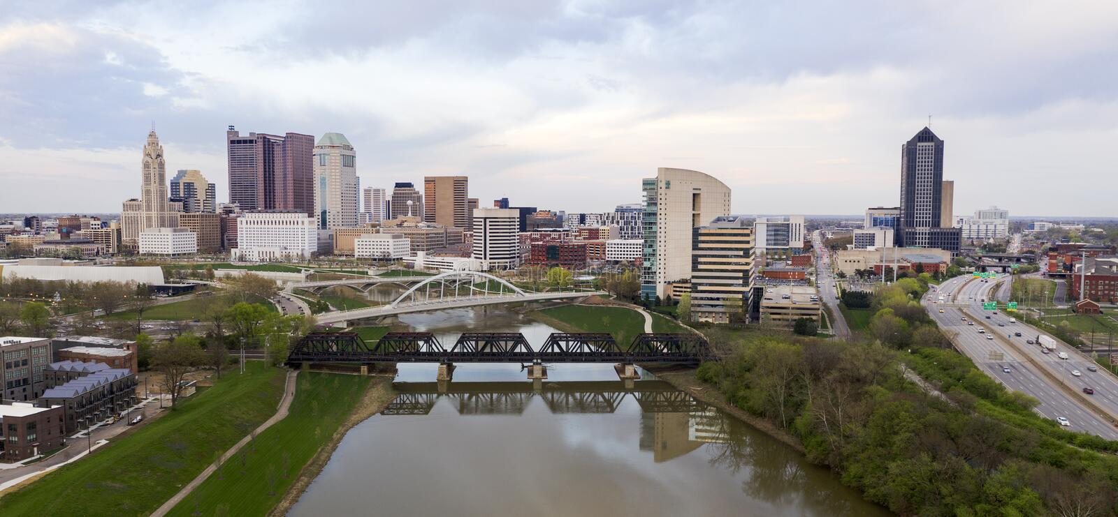Stormy Afternoon Downtown Urban Core Columbus Ohio royalty free stock images