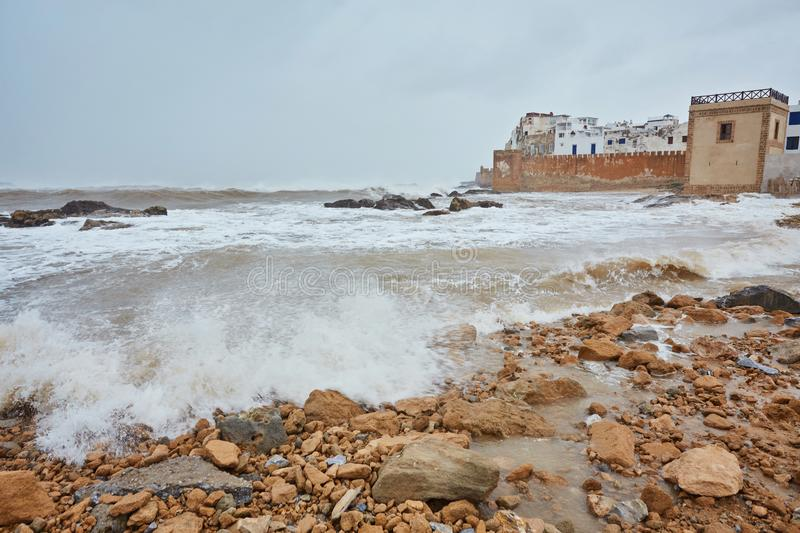 Stormy Atlantic ocean on the shore of Essaouira stock image
