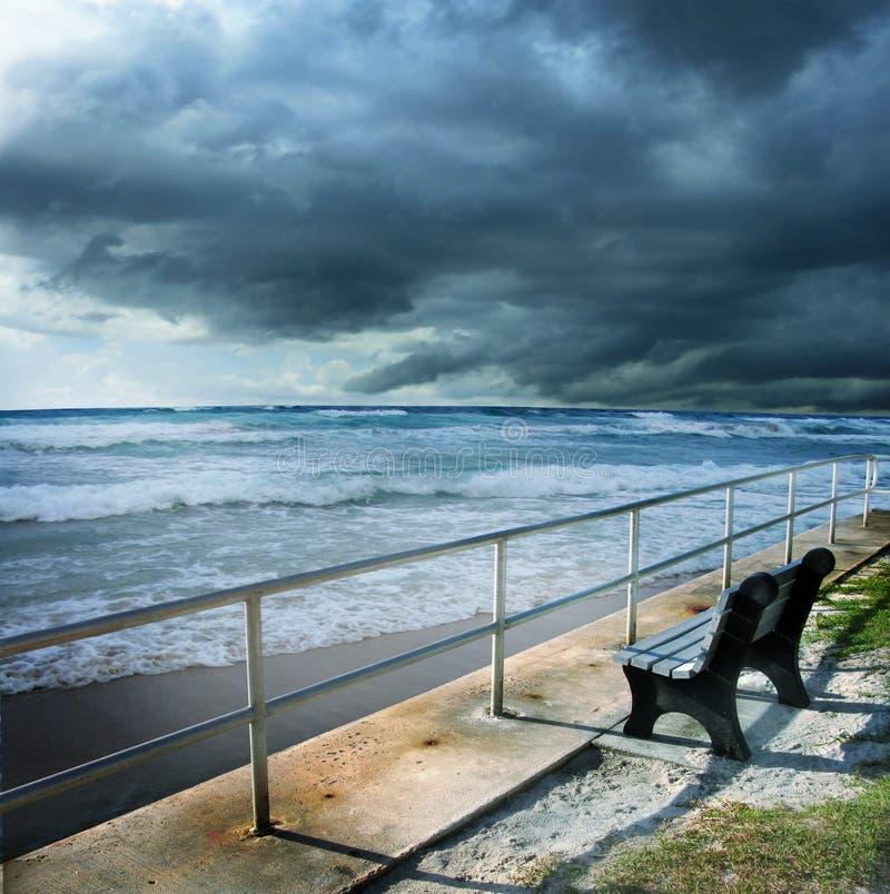 Stormy beach shore stock photo