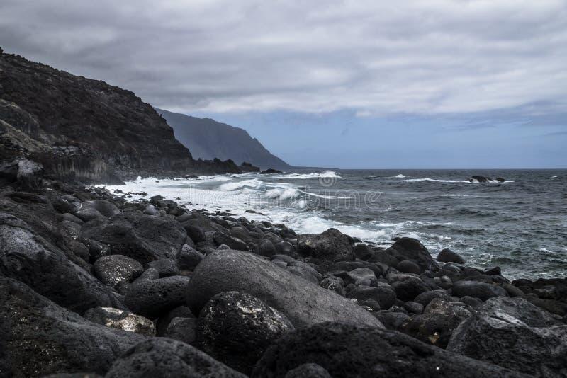Stormy cliff coast, el hierro. El golfo, canary islands, spain royalty free stock photo