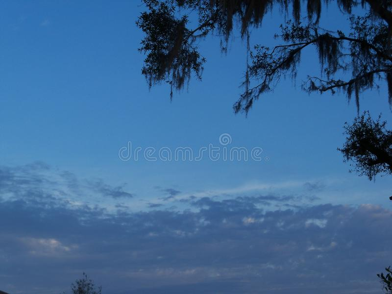 Stormy clouds in the morning. There is a storm front coming in this morning royalty free stock photography