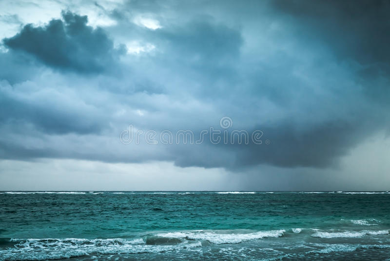 Stormy clouds over Atlantic ocean. Sea landscape royalty free stock photo