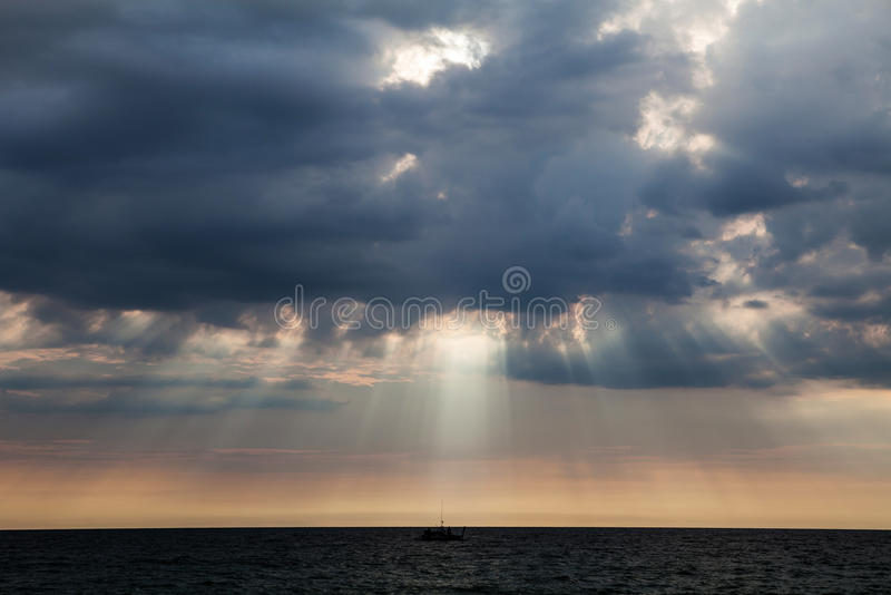 Stormy clouds over dark ocean. In Thailand royalty free stock images