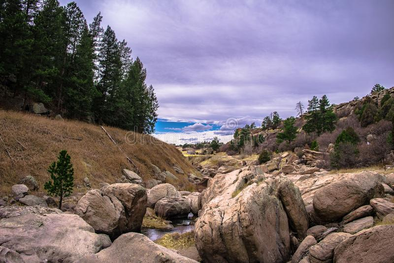 Stormy day in Castlewood Canyon State Park stock photography