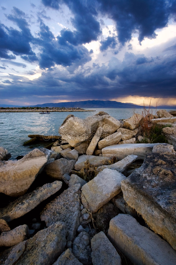 Download Stormy Evening Over The Lake Stock Image - Image of coast, landscape: 3434913