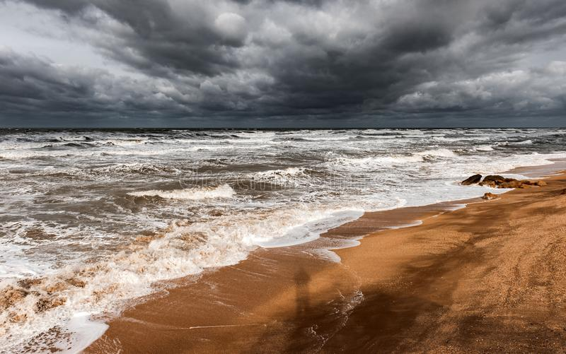 Stormy foamy sea, big waves stock images
