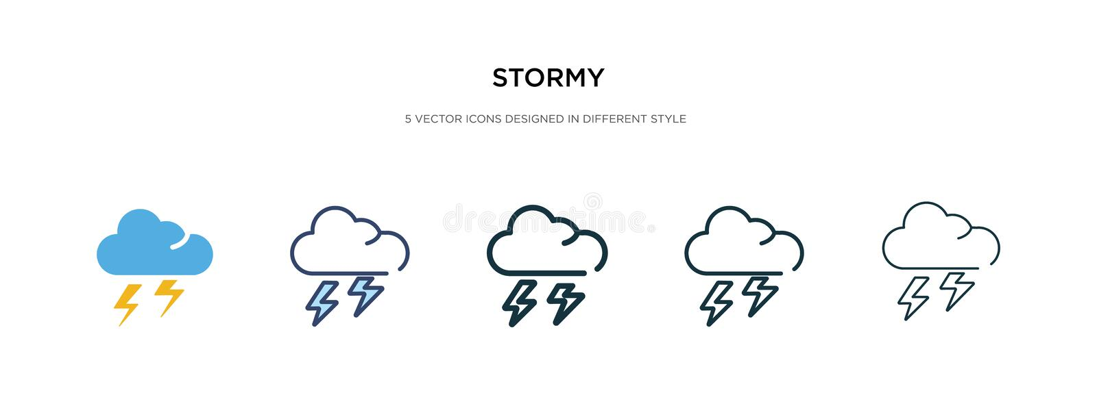 Stormy icon in different style vector illustration. two colored and black stormy vector icons designed in filled, outline, line royalty free illustration