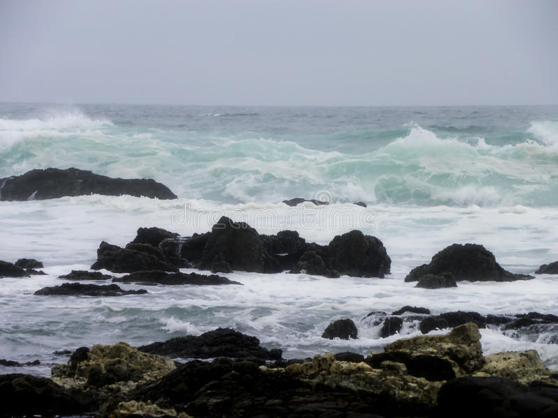 Stormy Indian Ocean. A close-up view of the Indian ocean with stormy waves off the coast of South Africa stock images