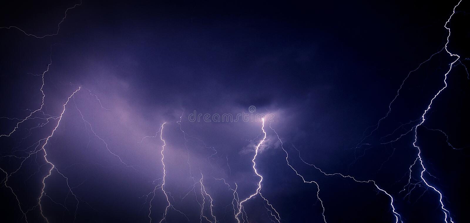 Stormy night sky. With group of thunderbolds stock images