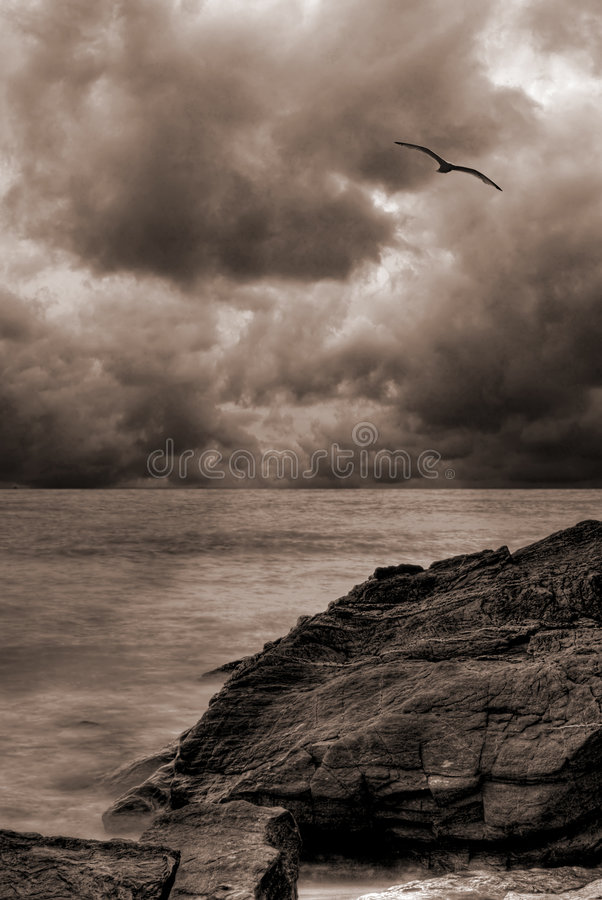 Stormy ocean landscape stock photography