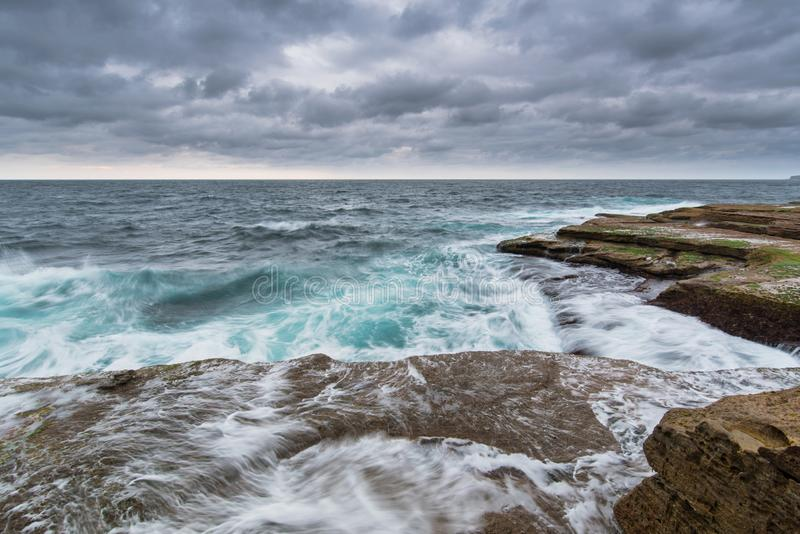 Stormy Ocean with unrest sea and waves stock photography