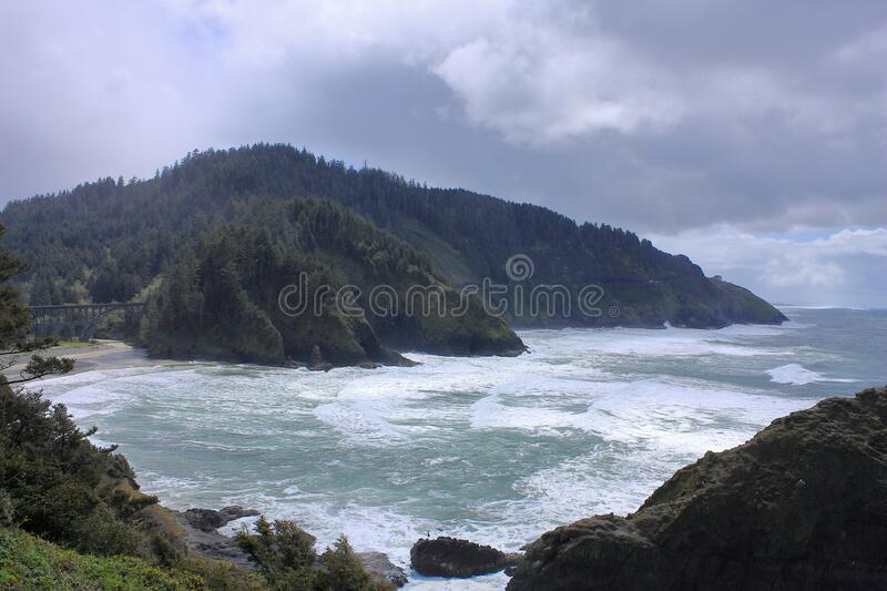 Stormy Oregon Coast from Heceta Head to Sea Lion Cave, Pacific Northwest, Oregon, USA royalty free stock image