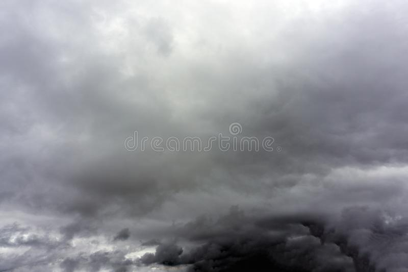 Stormy rain clouds background. Dark sky. Dramatic Moody Thunder Storm. Climate Change weather environment background stock photos