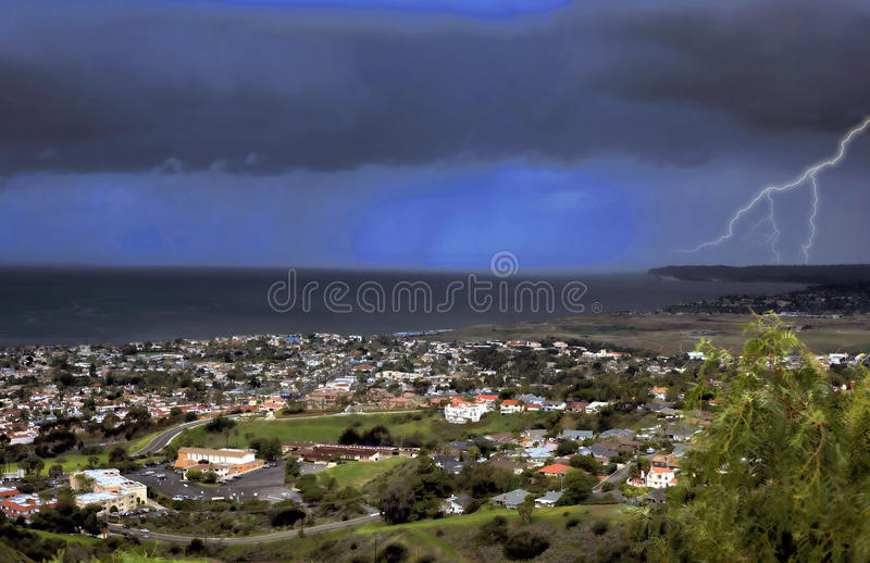 Stormy San Clemente. A storm passes through San Clemente with rain in the background stock photos
