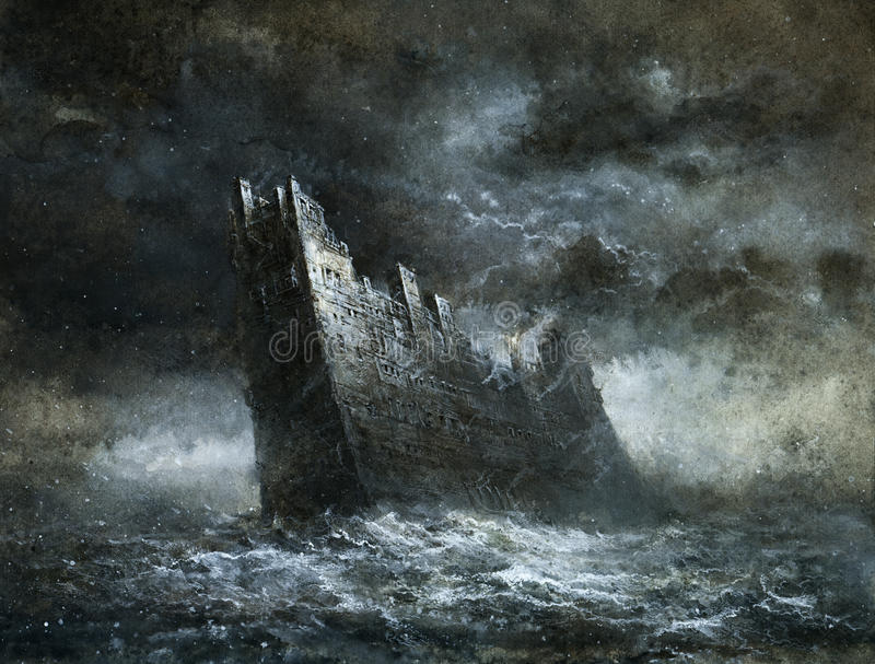 Stormy sea stock illustration