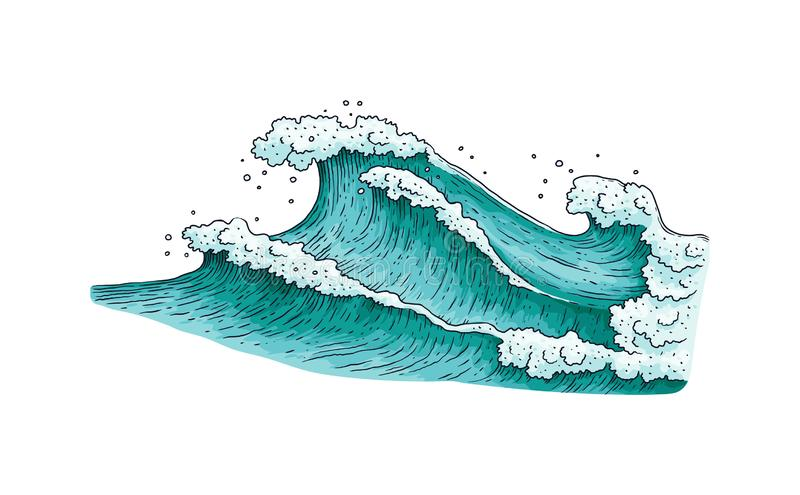 Stormy sea water wave drawing isolated on white background. Teal blue ocean waves in hand drawn sketch style. Nautical nature - flat vector illustration stock illustration