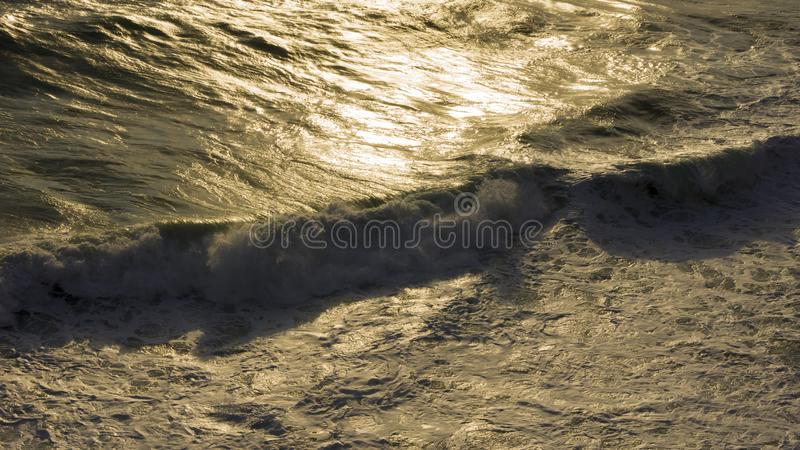 Stormy sea waves breaking near the coast stock photography