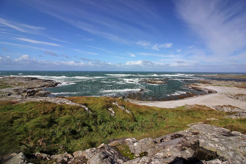 Stormy seas at Port Mor bay, Isle of Colonsay, Scotland stock images
