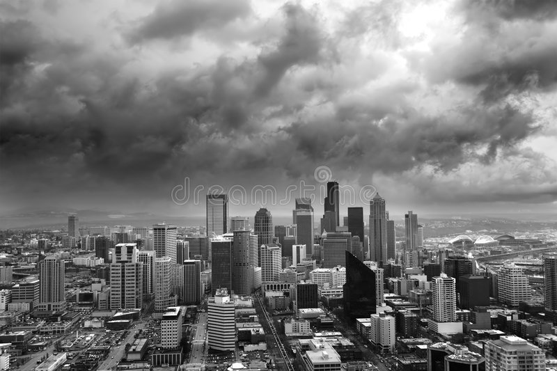 Stormy Seattle royalty free stock image
