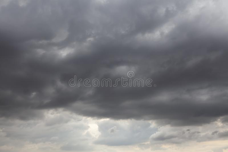 Stormy skies with grey clouds 0004. Stormy skies with grey clouds. Natural weather background showing possible rain stock image