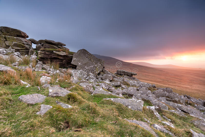 Stormy Skies over Dartmoor. Storm clouds descend on Dartmoor National Park at West Mill Tor near Okehampton stock images