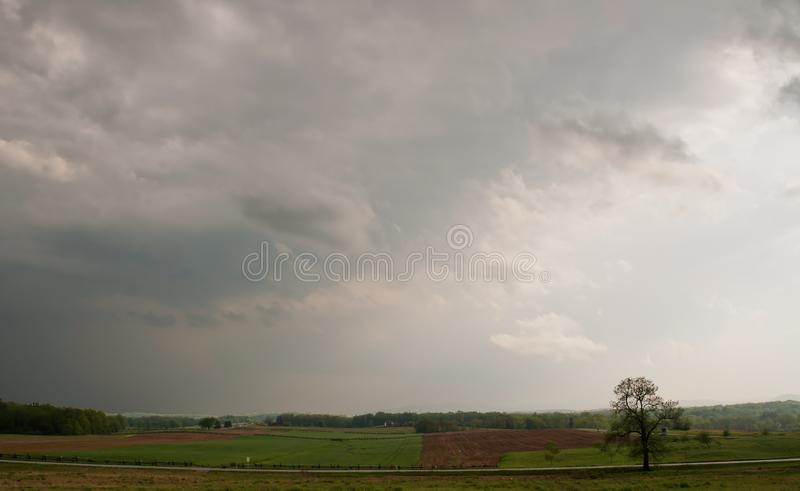 Stormy spring skies over Gettysburg, Pennsylvania stock photo